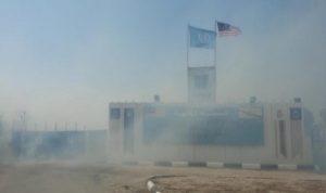 حريق بالقرب من مقر الكتيبة الماليزية في معركة
