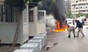 بالفيديو: أحرق نفسه أمام مركز الأمم المتحدة في بئر حسن