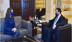 دياب بحث مع السفيرة الأميركية في الاوضاع اللبنانية