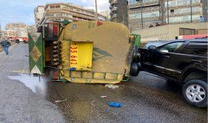 بعد انقلاب صهريج.. فوج اطفاء بيروت يتخذ اجراءات السلامة العامة (فيديو)