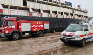 حريق داخل باخرة في مرفأ بيروت
