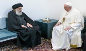 السيستاني: تحدثنا مع البابا عما تعانيه الشعوب من عنف وحروب