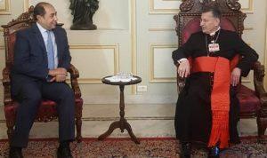 زكي من بكركي: الجامعة العربية تدعم حياد لبنان