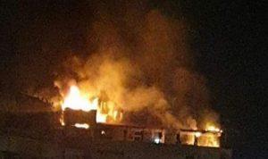 حريق في مبنى سكني بسبب إنفجار خزان مازوت (فيديو)