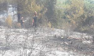 إخماد حريق في أحد بساتين علمان