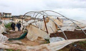 عكار: العاصفة حطّمت 120000 خيمة بلاستيكية