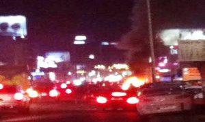خاص: احتراق سيارة على اوتوستراد جل الديب